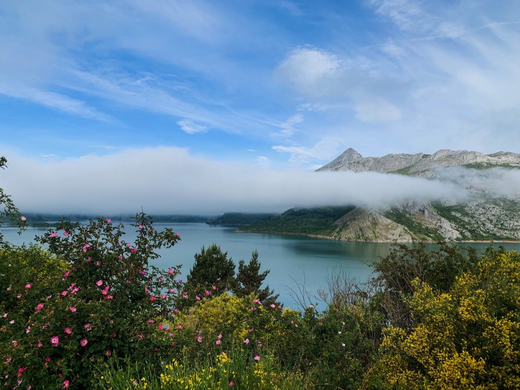 Picos Mountains shrouded by clouds